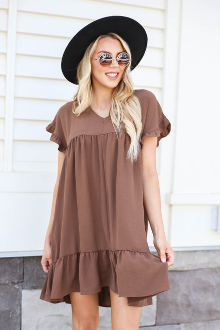 Mocha - Model wearing Mocha Ruffle Babydoll Dress