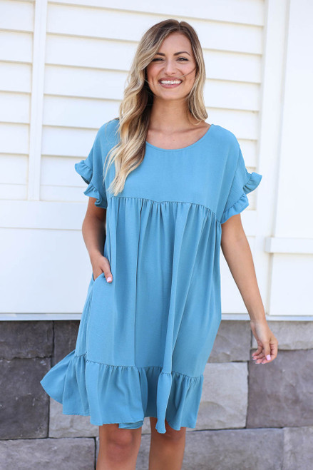 Teal - Ruffle Babydoll Dress