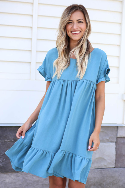 Model wearing Teal Ruffle Babydoll Dress