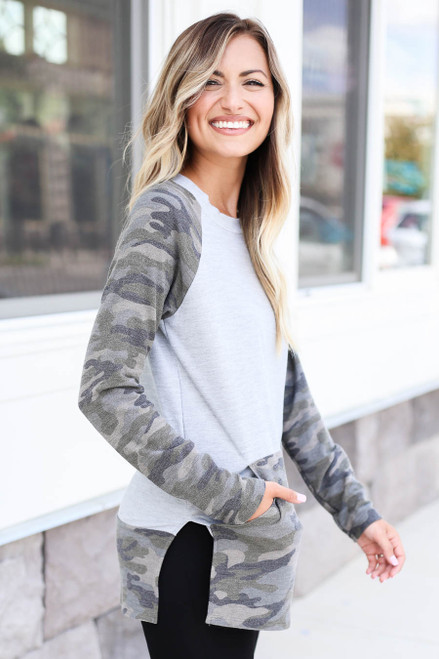 Collin Camo French Terry Pullover Side
