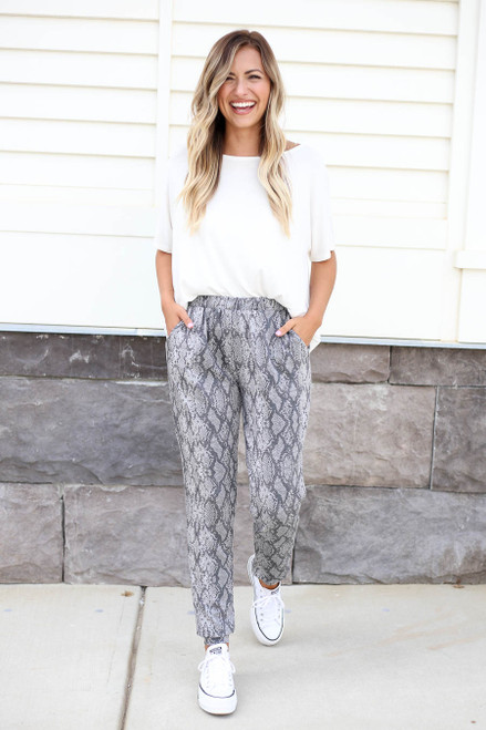 Ivey Snakeskin Joggers Full Body Front