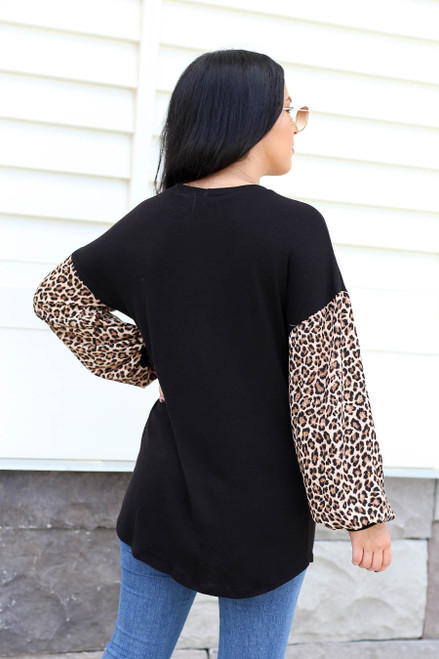 Black - Leopard Balloon Sleeve Top Back VIew