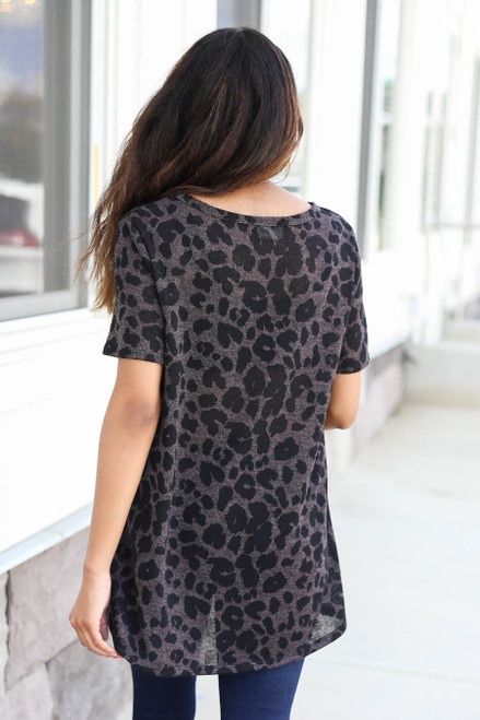 Charcoal - Leopard Print V-Neck Top Back View
