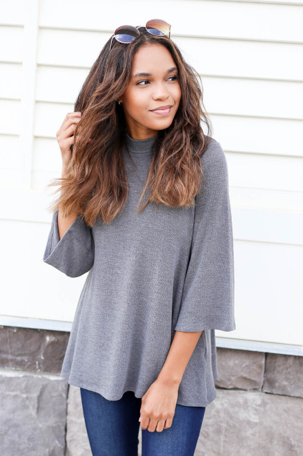 Charcoal - Loren Knit Mock-Neck Top Charcoal Front