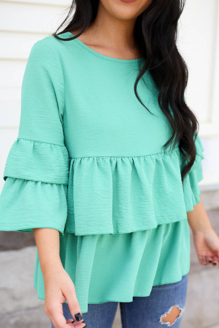 Mint - Phoebe Ruffle Tiered Blouse Mint Front