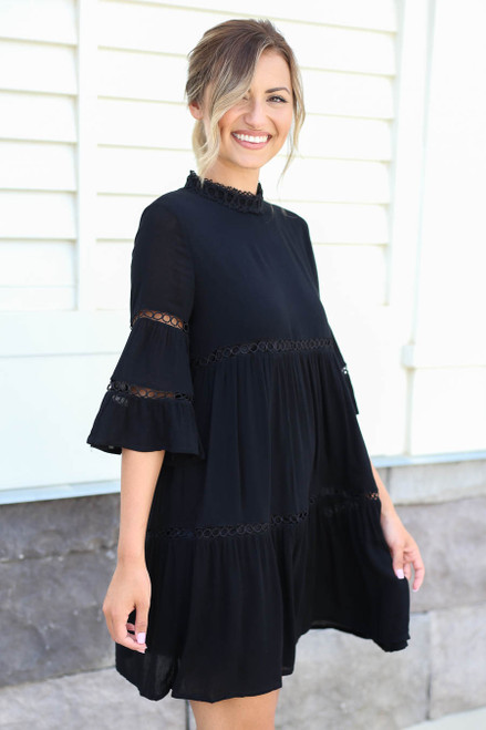Black - Crochet Mock Neck Dress Side View