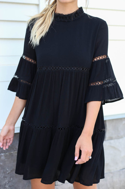 Gianna Crochet Mock Neck Dress Front Detail