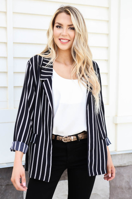 Black - Cleo Striped Blazer Front