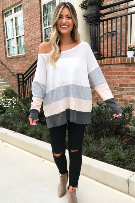 Ivory - Waffle Knit Color Block Top Full View