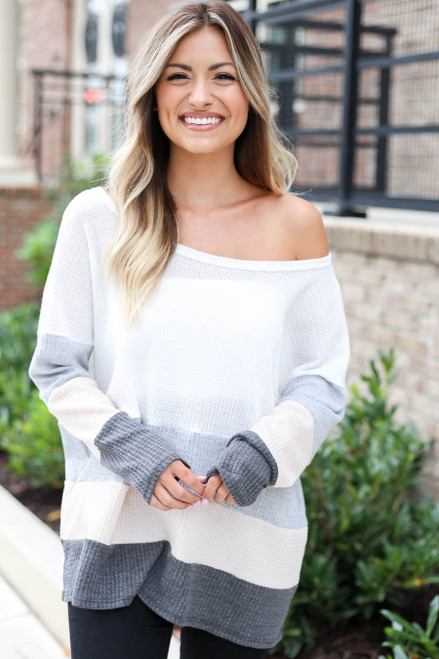 Model wearing Ivory Waffle Knit Color Block Top