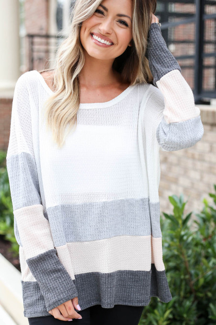 Ivory - Waffle Knit Color Block Top