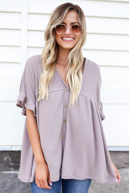 Taupe - Waffle Knit Babydoll Top