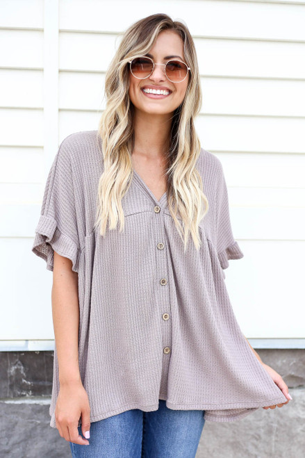 Model wearing Taupe Waffle Knit Babydoll Top