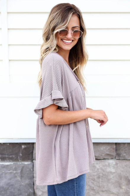 Taupe - Waffle Knit Babydoll Top Side View