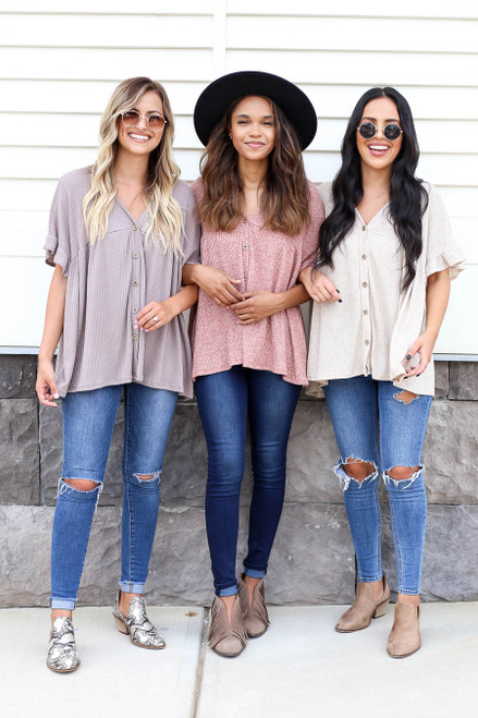 Models wearing Rust, Ivory and Taupe Waffle Knit Babydoll Top