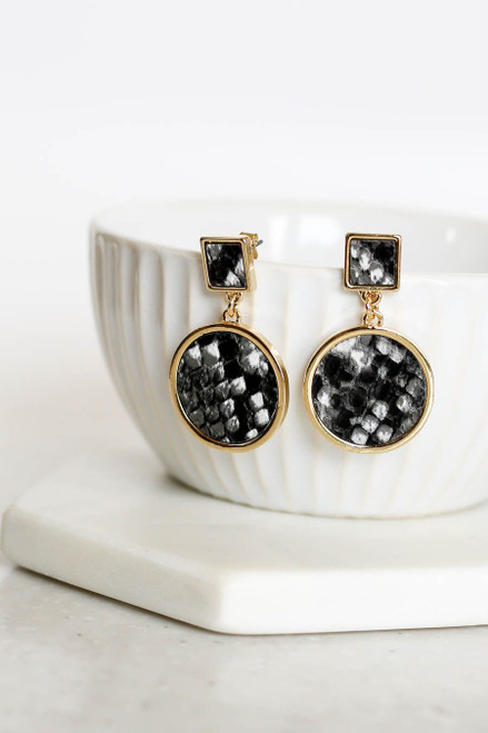 Black - Snakeskin Geometric Earrings