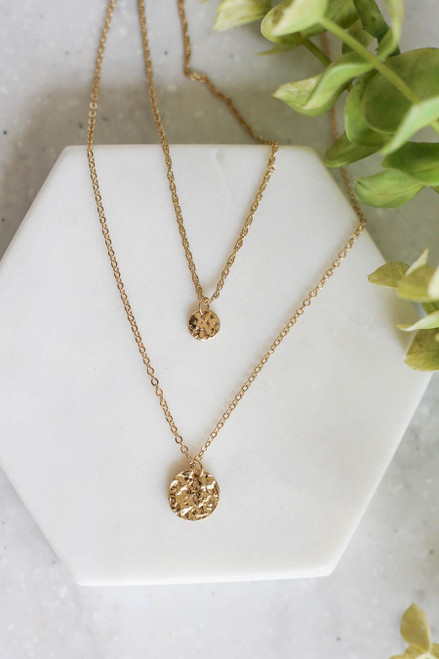 Gold Layered Coin Necklace Set Flat Lay