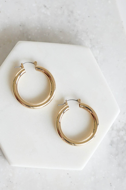 Gold Chunky Hoops Flat Lay