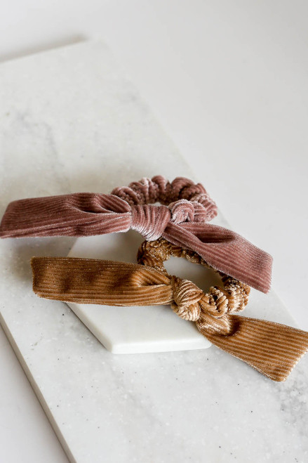 Tan - and Mauve Velvet Scrunchies Flat Lay