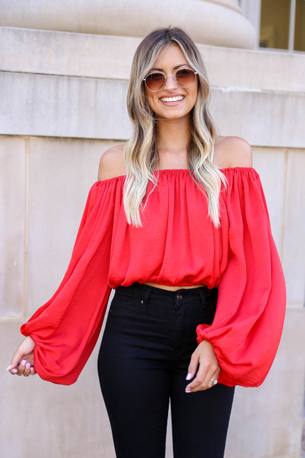 Red - Off the Shoulder Balloon Sleeve Blouse