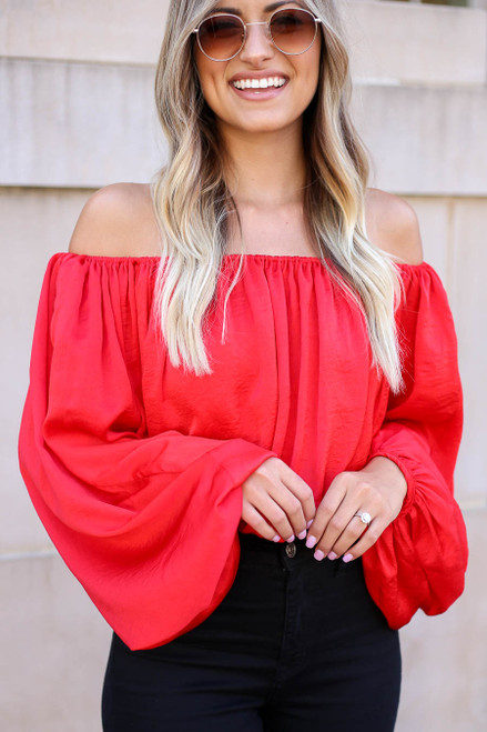Model wearing Red Off the Shoulder Balloon Sleeve Blouse Front View