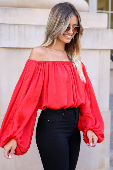Red - Off the Shoulder Balloon Sleeve Blouse Side View