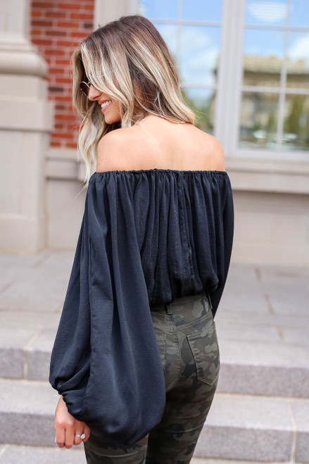 Black - Off the Shoulder Balloon Sleeve Blouse Back View