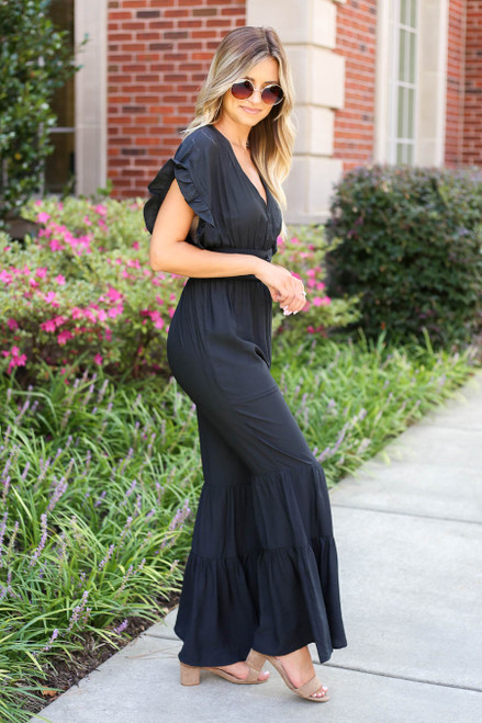 Black - Short Sleeve Tiered Leg Jumpsuit Side View