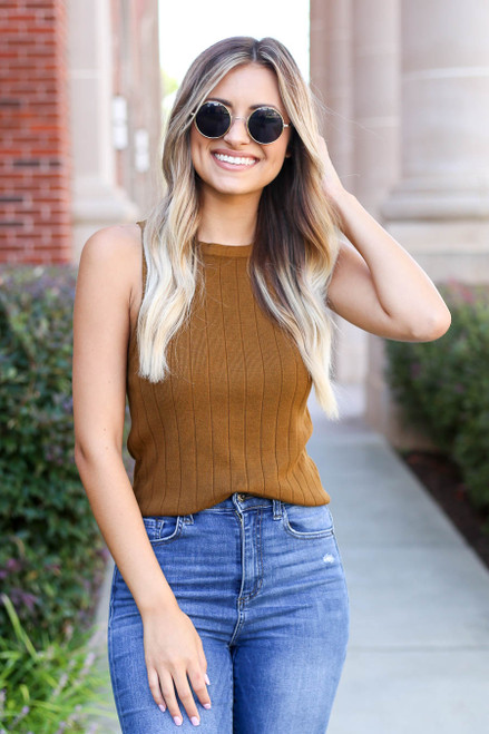 Olive - Ribbed Tank Top