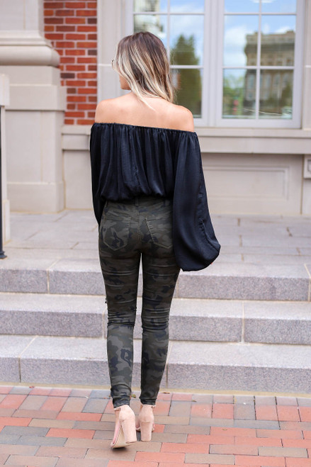 Model wearing Camo Distressed Skinny Jeans Back View