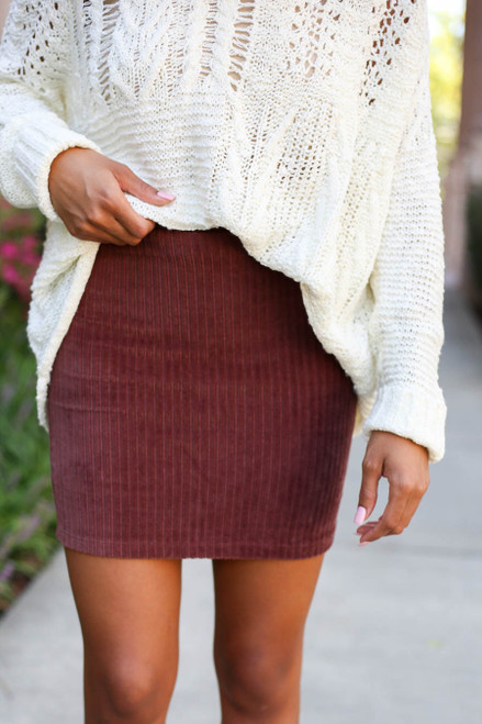 Burgundy -  Ribbed Bodycon Skirt