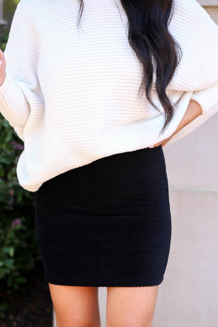 Black - Ribbed Bodycon Skirt Detail View