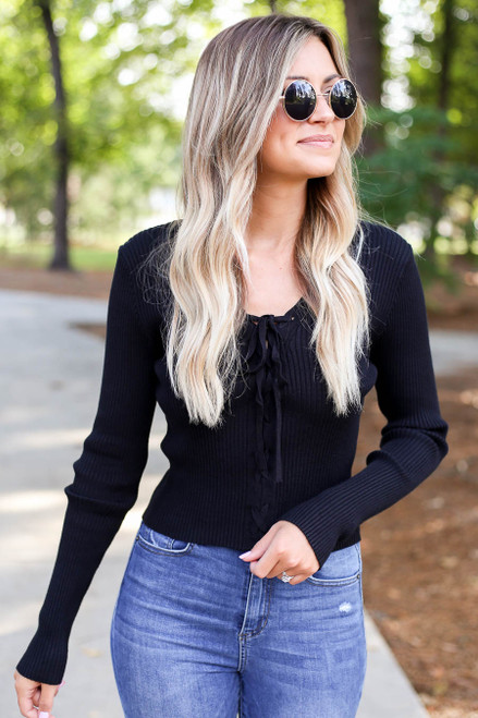Black - Lace Up Ribbed Top