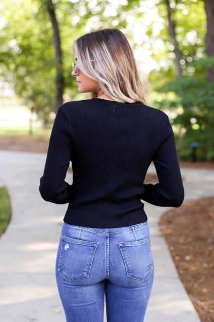 Model wearing Black Lace Up Ribbed Top Back View