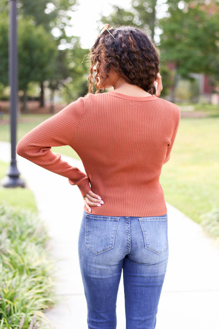 Rust - Lace Up Ribbed Top Back View