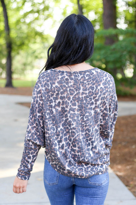 Model Leopard Print Knit Top Back View