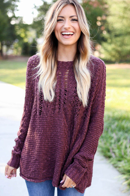 Purple - Open Knit Sweater