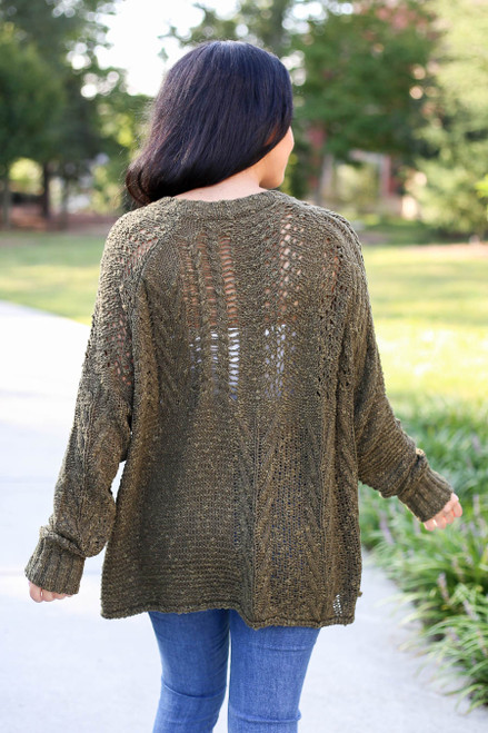 Olive - Open Knit Sweater Back View