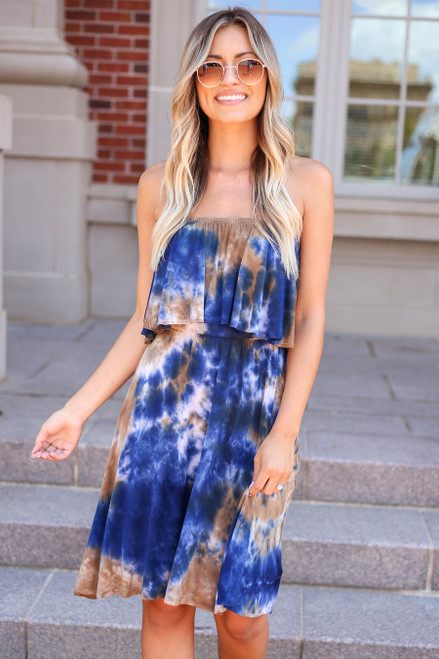 Navy - Strapless Tie-Dye Dress