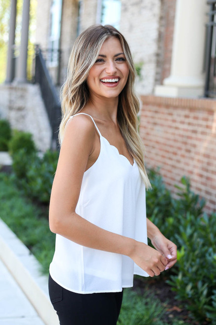 Model wearing White Scalloped Tank Top Side View