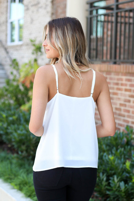 White - Scalloped Tank Top Back View