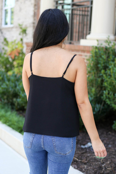 Model wearing Black Scalloped Tank Top Back View