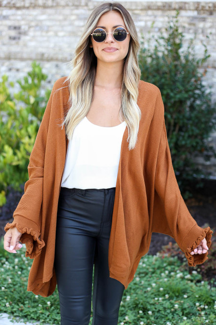 Model wearing Camel Oversized Ruffled Cardigan