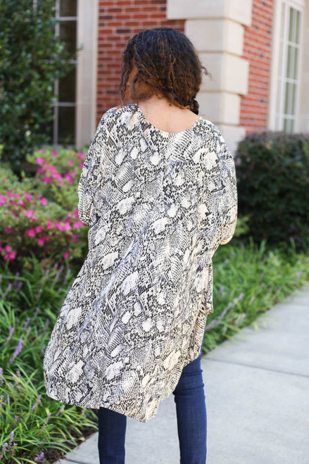 Model wearing Grey Snakeskin Kimono Back View