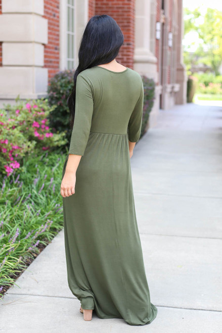 Olive - 3/4 Sleeve Basic Maxi Dress Back View