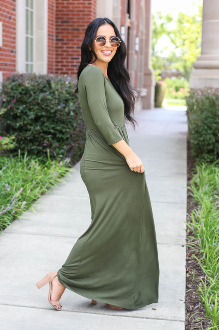 Model wearing Olive 3/4 Sleeve Basic Maxi Dress Side View