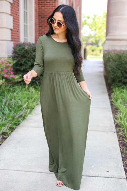 Olive - 3/4 Sleeve Basic Maxi Dress