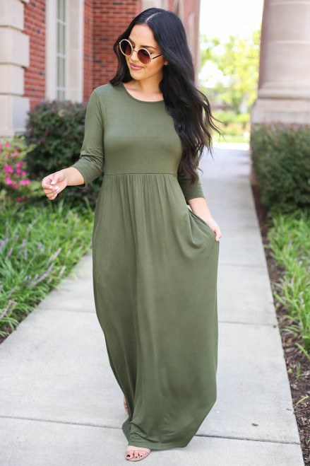 Model wearing Olive 3/4 Sleeve Basic Maxi Dress Front View