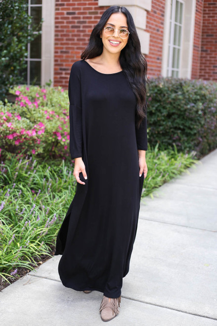 Black - 3/4 Sleeve Maxi Dress