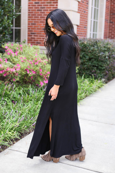 Black - 3/4 Sleeve Maxi Dress Side View